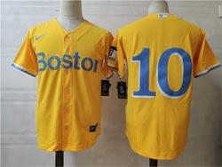 Mens Mlb Boston Red Sox #10 Hunter Renfroe Yellow City Edition Cool Base Nike Jersey No Name