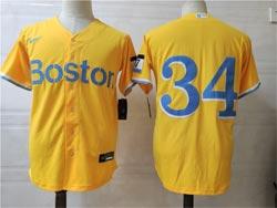 Mens Mlb Boston Red Sox #34 David Ortiz Yellow City Edition Cool Base Nike Jersey No Name