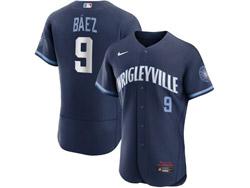 Mens Mlb Chicago Cubs #9 Javier Baez Dark Blue Wrigleyville Flex Base Nike Jersey