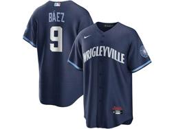 Mens Mlb Chicago Cubs #9 Javier Baez Dark Blue Wrigleyville Cool Base Nike Jersey