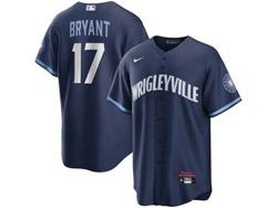 Mens Mlb Chicago Cubs #17 Kris Bryant Dark Blue Wrigleyville Cool Base Nike Jersey