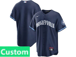 Mens Women Youth Mlb Chicago Cubs Custom Made Dark Blue Wrigleyville Cool Base Nike Jersey