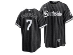 Mens Mlb Chicago White Sox #7 Tim Anderson Black Stripe City Connect Wordmark Cool Base Nike Jersey