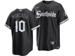 Mens Mlb Chicago White Sox #10 Yoan Moncada Black Stripe City Connect Wordmark Cool Base Nike Jersey
