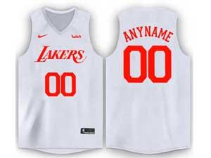 Mens Nba Los Angeles Lakers Custom Made Full White Nike Wish Swingman Jersey