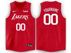 Mens Nba Los Angeles Lakers Custom Made Full Red Nike Wish Swingman Jersey
