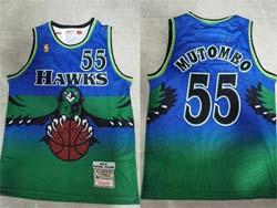 Mens Nba Atlanta Hawks #55 Dikembe Mutombo Green Mitchell&ness Hardwood Classics Jersey