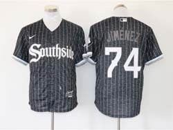 Mens Mlb Chicago White Sox #74 Eloy Jimenez Black Stripe City Connect Wordmark Cool Base Nike Jersey