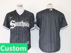 Mens Mlb Chicago White Sox Black Stripe City Connect Wordmark Custom Made Cool Base Nike Jersey