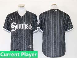 Mens Mlb Chicago White Sox Black Stripe City Connect Wordmark Current Player Cool Base Nike Jersey