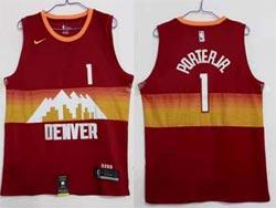 Mens 2021 Nba Denver Nuggets #1 Michael Porter Jr. Red City Edition Nike Swingman Jersey