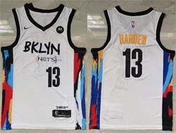 Mens 2021 Nba Brooklyn Nets #13 James Harden White Motorola Logo City Edition Nike Swingman Jersey