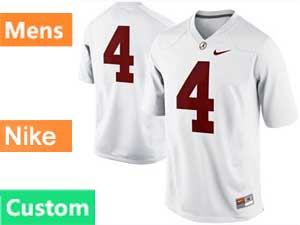 Mens Ncaa Nfl Alabama Crimson Custom Made White Nike Game Jersey