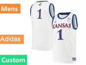 Mens Ncaa Nba Kansas Jayhawks Custom Made White Adidas Swingman Jersey