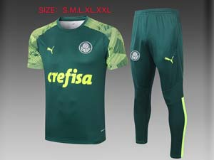 Mens 21-22 Soccer Se Palmeiras Club Short Sleeve And Green Sweat Pants Training Suit 2 Color
