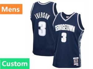 Mens Ncaa Nfl Georgetown Hoyas Custom Made Blue Swingman Jersey