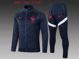 Mens Kids 20-21 Soccer France National Team Navy Training And Navy Sweat Pants Training Suit