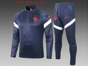 Mens Kids 20-21 Soccer France National Team Training And Navy Sweat Pants Training Suit 2 Color