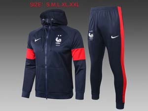 Mens 20-21 Soccer France National Team Navy Wind Coat And Navy Sweat Pants Training Suit F252#