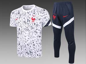 Mens 20-21 Soccer France National Team Short Sleeve Printing And Blue Sweat Pants Training Suit 3 Color