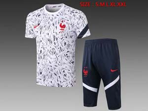 Mens 20-21 Soccer France National Team Short Sleeve Printing And Navy Shorts Training Suit 2 Color