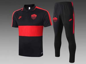 Mens 20-21 Soccer As Roma Club Black Red Polo Shirt And Black Sweat Pants Training Suit C407#