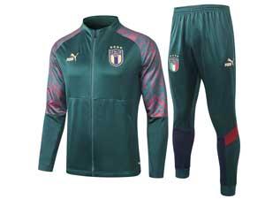 Mens 20-21 Soccer Italy National Team Dark Green Training And Dark Green Sweat Pants Training Suit  Long Zipper A304#