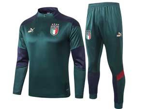 Mens 20-21 Soccer Italy National Team Dark Green Training And Dark Green Sweat Pants Training Suit Half Zipper B371#