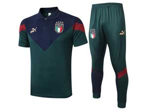 Mens 20-21 Soccer Italy National Team Dark Green Training And Dark Green Sweat Pants Training Suit Polo C441#