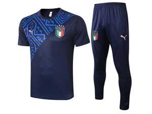 Mens 20-21 Soccer Italy National Team Dark Blue Training And Dark Blue Pants Training Round Neck Short Sleeve Suit C461#