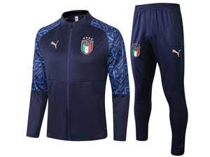 Mens 20-21 Soccer Italy National Team Dark Blue Training And Dark Blue Sweat Pants Training Suit Long Zipper A315#