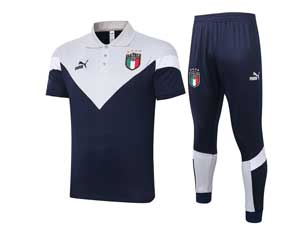 Mens 20-21 Soccer Italy National Team Dark Blue Training And Dark Blue White Sweat Pants Training Suit Polo C422#