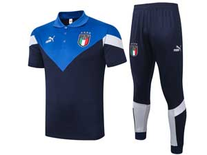 Mens 20-21 Soccer Italy National Team Dark Blue Training And Dark Blue Sweat Pants Training Suit Polo C420#