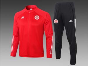 Mens 20-21 Soccer Club Brazil International Red Training And Black Sweat Pants Training Suit 2 Color