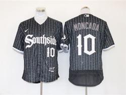 Mens Mlb Chicago White Sox #10 Yoan Moncada Black Stripe City Connect Wordmark Flex Base Nike Jersey