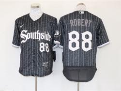 Mens Mlb Chicago White Sox #88 Luis Robert Black Stripe City Connect Wordmark Flex Base Nike Jersey