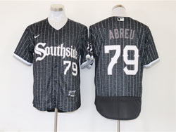 Mens Mlb Chicago White Sox #79 Jose Abreu Black Stripe City Connect Wordmark Flex Base Nike Jersey