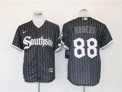 Mens Mlb Chicago White Sox #88 Luis Robert Black Stripe City Connect Wordmark Cool Base Nike Jersey