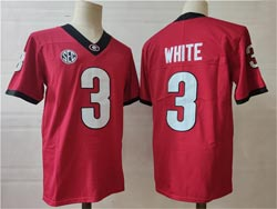 Mens Ncaa Nfl Georgia Bulldogs #3 White Red Vapor Untouchable Limited Jersey