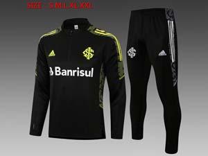 Mens 21-22 Soccer Club Brazil International Half Zipper Training And Black Sweat Pants Training Suit 3 Color