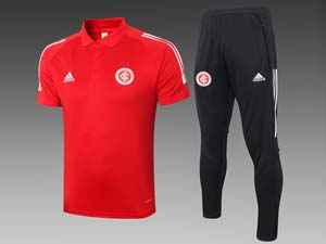 Mens 21-22 Soccer Club Brazil International Polo Shirt And Black Sweat Pants Training Suit 2 Color