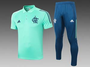Mens 20-21 Soccer Flamengo Rj Club Polo Shirt And Blue Sweat Pants Training Suit 2 Color