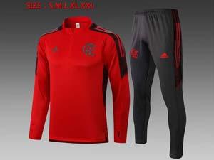 Mens 21-22 Soccer Flamengo Rj Club Dart Red Half Zipper Training And Black Sweat Pants Training Suit B459#