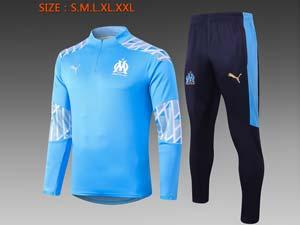 Mens 20-21 Soccer Olympique De Marseille Club Half Zipper Training And Blue Sweat Pants Training Suit 2 Color