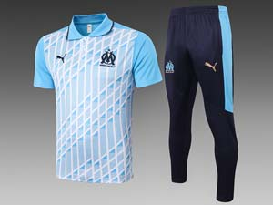 Mens 20-21 Soccer Olympique De Marseille Club Printing Polo Shirt And Sweat Pants Training Suit 2 Color