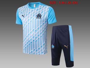 Mens 20-21 Soccer Olympique De Marseille Club Printing Short Sleeve And Shorts Training Suit 2 Color