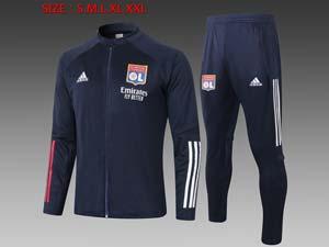 Mens 20-21 Club Olympique Lyonnais Navy Jacket And Navy Sweat Pants Training Training Suit Long Zipper
