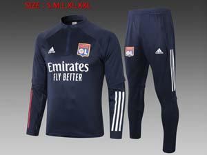Mens 20-21 Club Olympique Lyonnais Navy Jacket And Navy Sweat Pants Training Training Suit Half Zipper