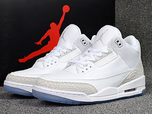 Mens Air Jordan 3 Pure White Basketball Shoes White