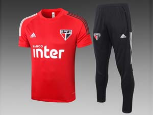 Mens 20-21 Soccer Sao Paulo Short Sleeves And Black Sweat Pants Training Suit 2 Color
